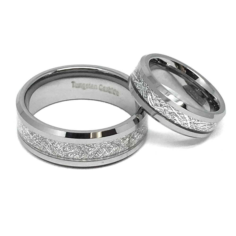 Wedding Band Ring Set For Him & Her - 8MM/6MM Tungsten Carbide Beveled Edge with Meteorite Center Inlay