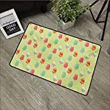 Outdoor Door mat W35 x L59 INCH Ice Cream,Delicious Sweet Treats Colorful Summer Theme with Retro Influences Childhood,Multicolor Easy to Clean, Easy to fold,Non-Slip Door Mat Carpet