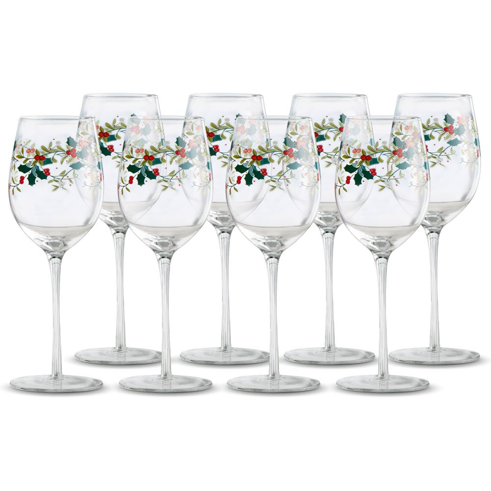 Christmas Tablescape Décor - Pfaltzgraff Winterberry design wine glasses - Set of 8