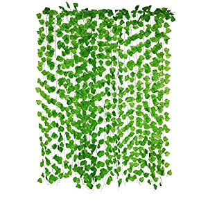 Yatim 12 Pack 94.5-Ft Artificial Greenery Fake Hanging Vine Plants Leaf Garland Hanging for Wedding Party Garden Outdoor Greenery Office Wall Decoration 33