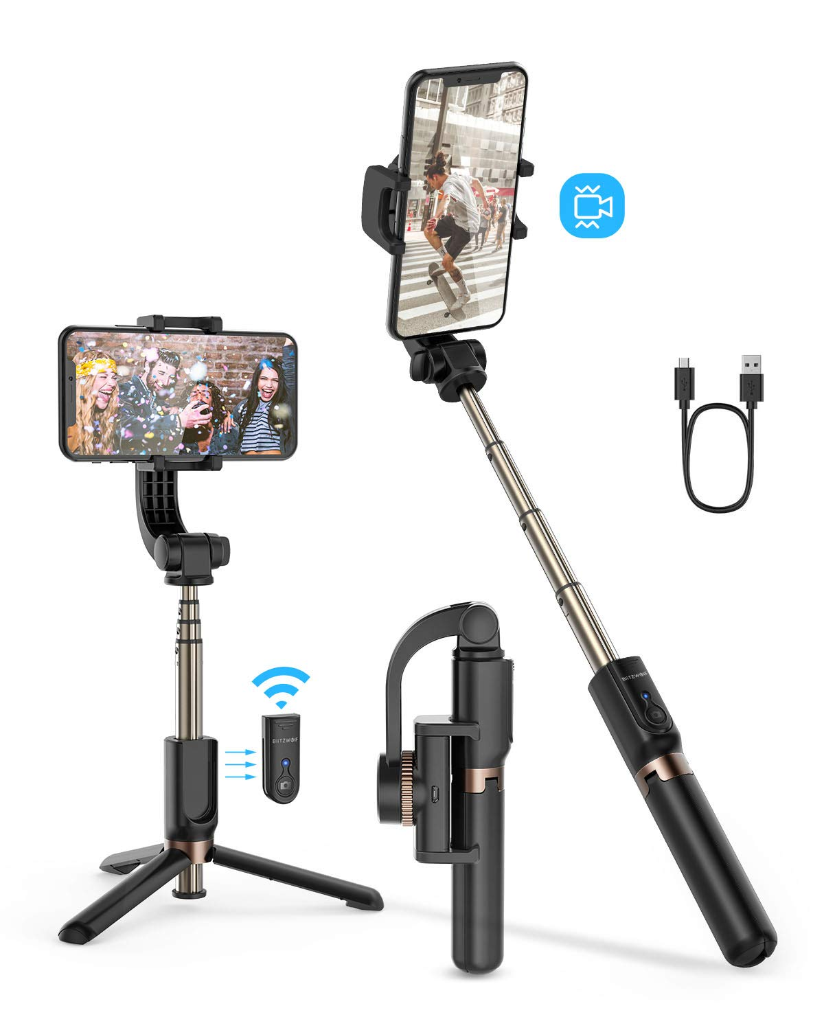 Selfie Stick Tripod, BlitzWolf Mini Extendable Selfie Stick Bluetooth with Anti-Shaking Stabilizer and Automatic Balance, One-Axis Gimbal for iPhone 11 Pro/XS Max/XS/XR/X/8/7/6, Galaxy S10/S9, Android by BlitzWolf