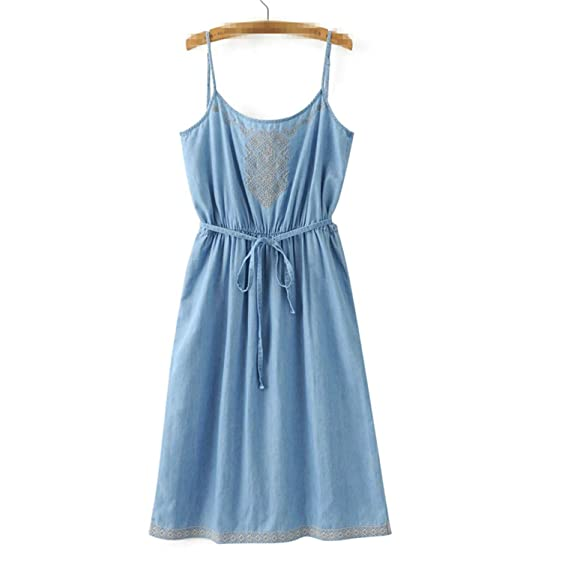 Venetia Morton Fashion Embroidery Denim Dress Women Vintage Jeans Dress Beach Backless Sashes Dresses Casual Blue