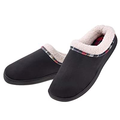 Men's Slippers Cozy Fuzzy Wool-Like Comfy Memory Foam Breathable Warm Slip on Clogs House Shoes Indoor/Outdoor Anti-Slip Sole | Slippers