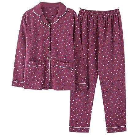 moxin Pijama de algodón Puro para Mujer de Manga Larga Pijama Set ...