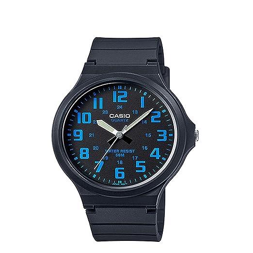 Casio Reloj Analogico para Hombre de Cuarzo con Correa en Resina MW-240-2BVEF: Amazon.es: Relojes