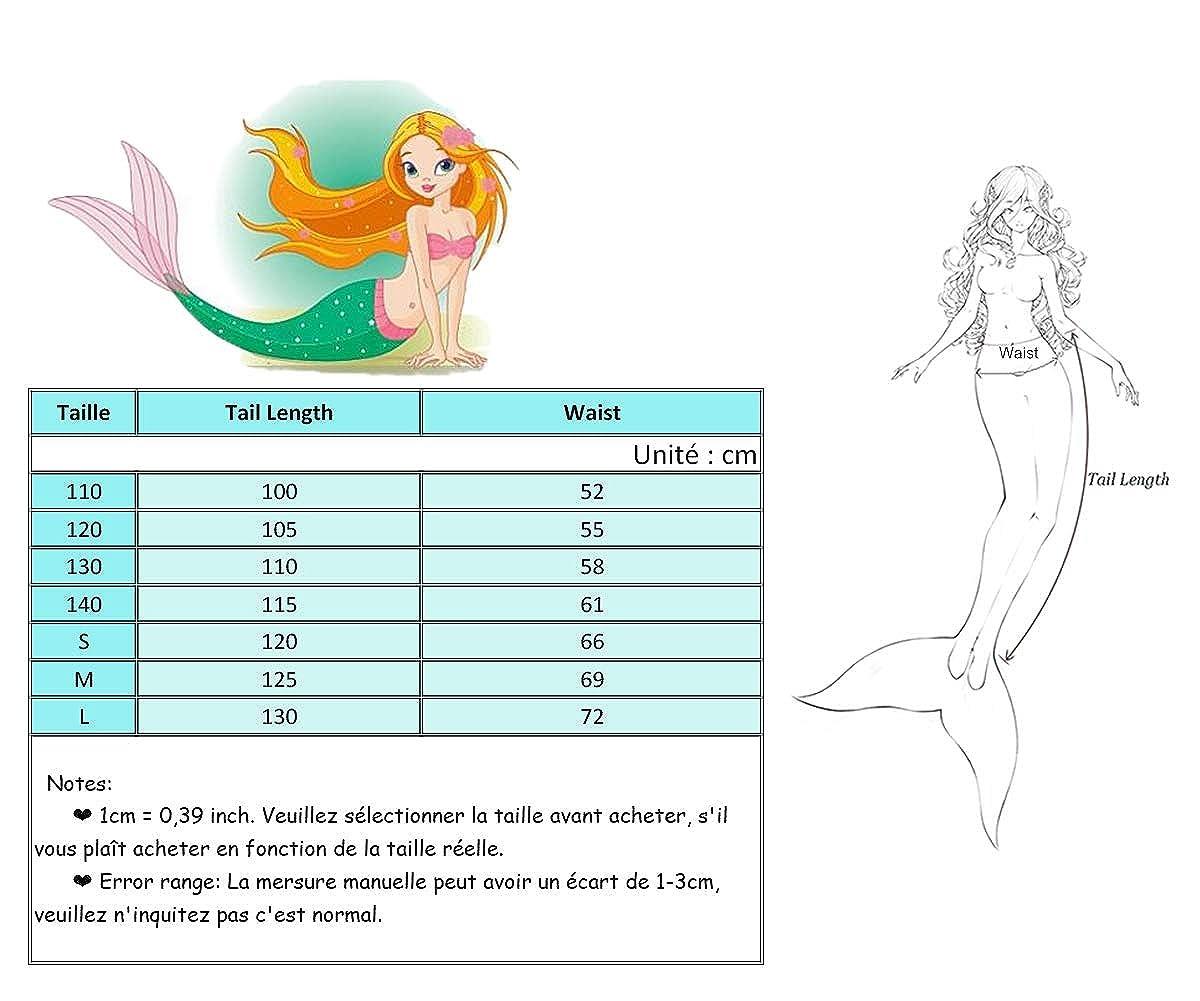 Amooy DiZi Fille Queue de Sir/ène Maillot de Bain Enfant Adulte Princesse Sir/ène pour Nager Cosplay Costume Mermaid Tail sans Monopalme