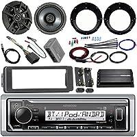 Kenwood KMR-M318BT Stereo Receiver Bundle W/ 2 Kicker 6.5 Speaker W/ Motorcycle Speaker Adapters, 200 Watt Amplifier W/ Amp Kit, Dash Trim Kit W/ Handle Bar Conroller, Enrock Antenna