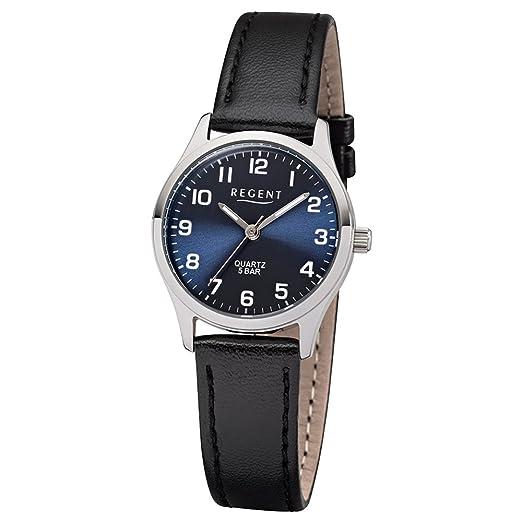 Regent de mujer reloj de pulsera elegante Analog correa de piel Negro Reloj de cuarzo esfera azul ur2113419: Regent: Amazon.es: Relojes