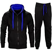 Janisramone Kids Boys New Contrast Drawcord Fleece Hooded Top Bottom Jogsuit Set Jogging Sports Tracksuit
