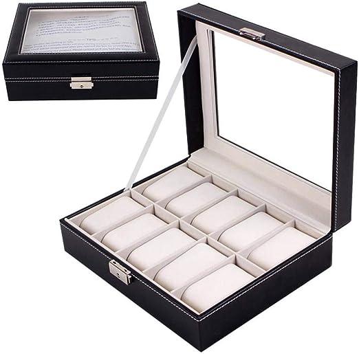 GOVD Caja Relojes Mujer con Piel Sintética Organizador de Almacenamiento con Almohadillas Extraíbles, Negro: Amazon.es: Hogar