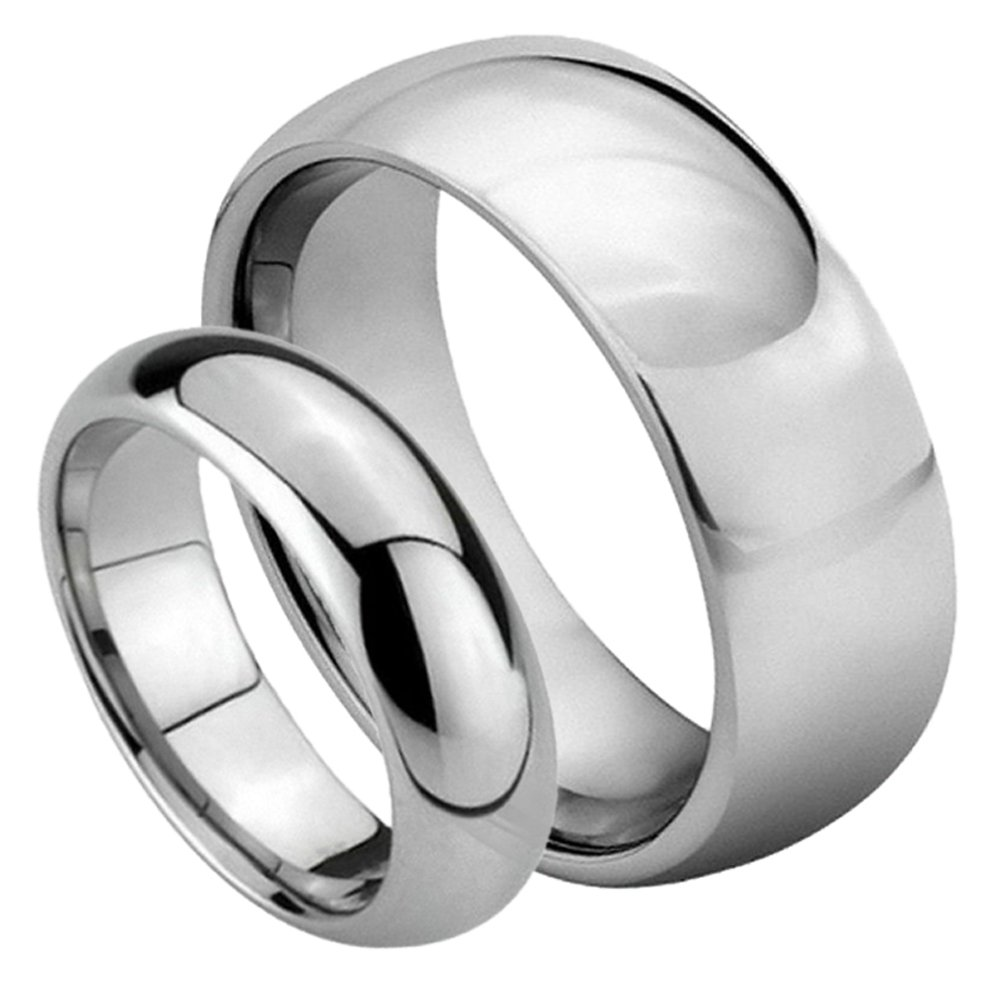 For Him & Her - 8MM/6MM Tungsten Carbide Classic Domed Shiny High Polish Wedding Band Ring Set