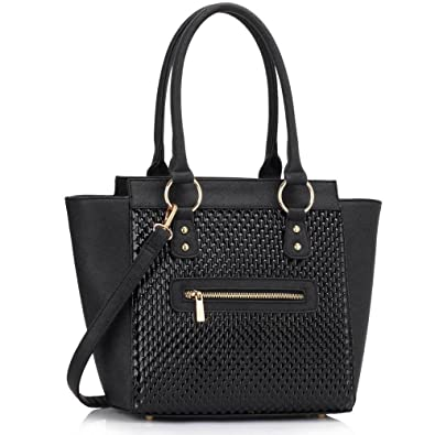 Women's Ladies Designer Leather Style Celebrity Tote Bag Smile ...
