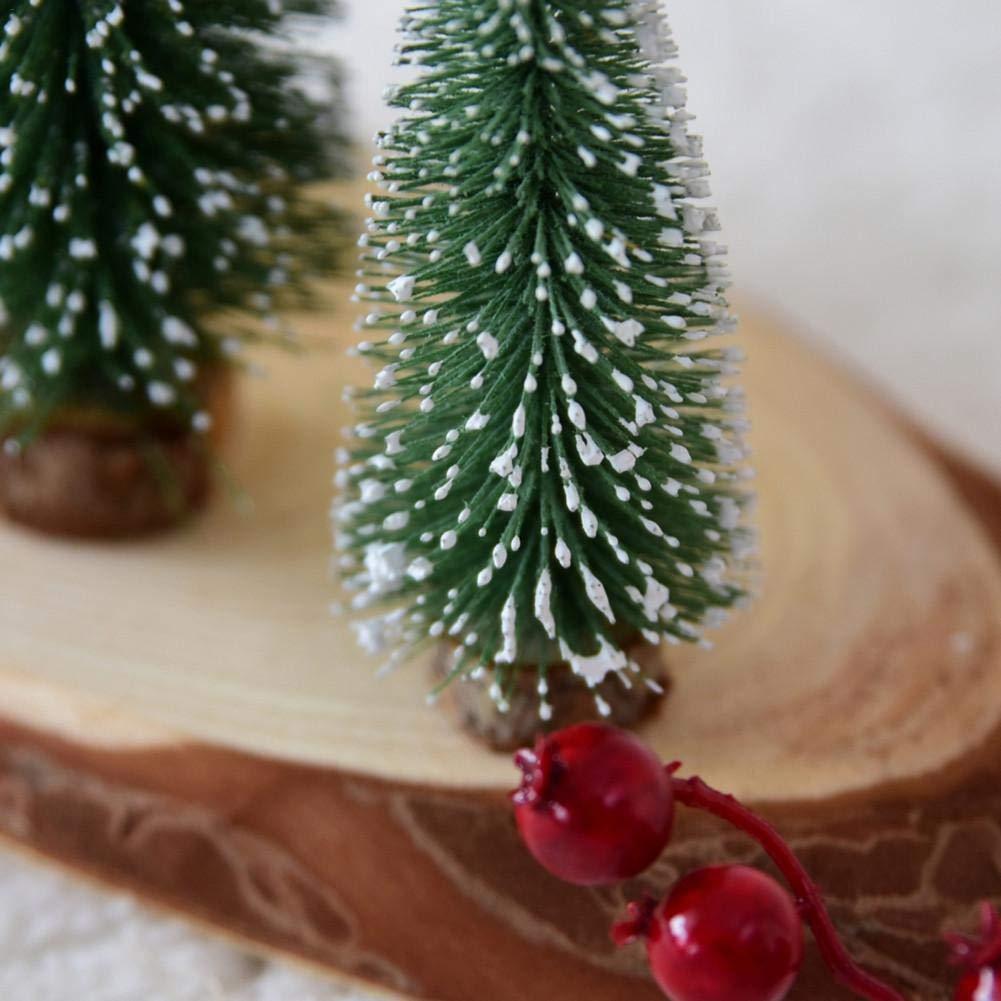 kati-way Sapin de Noël Artificiel Mini Arbres de Noël Miniature Pin Aiguille Flocage Décoration Table Intérieur Bureau 1pc