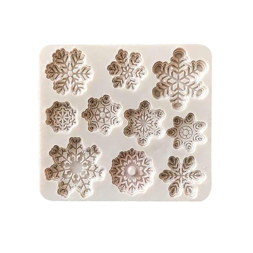 Wenini Silicone Cake Mold, 3D DIY Baking Cake Molds Decorating Chocolate Baking Mould Tool, Shaped by Christmas Xmas Snowflake, Christmas Tree, Maple Leaf, Alphabet Letter (Christmas Xmas Snowflake)