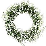 Evoio Artificial Wreath, 14'' Artificial Baby Breath Wreaths DIY Silk Gypsophila Flowers Garland Pendant Front Door Wall, Home Wedding Decoration Circular (White)