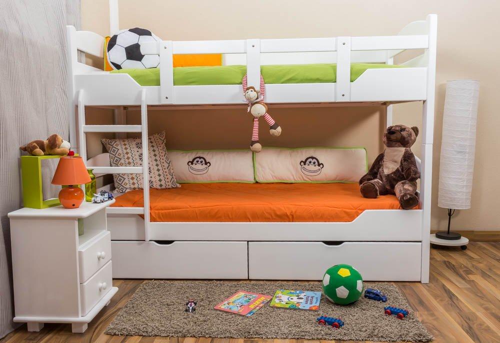 Stockbett mit Bettkasten Easy Sleep K13/n inkl. 2 Schubladen und 2 Abdeckblenden, Kopf- und Fußteil gerundet, Buche Vollholz massiv Weiß - Maße: 90 x 200 cm, teilbar