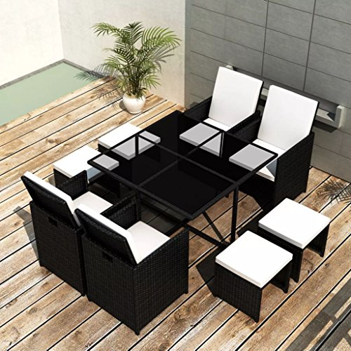 Festnight 9 Piece Outdoor Garden Dining Set Wicker Rattan Patio Glass Top Table with 4 Cushioned Chairs and 4 Ottomans Sectional Conversation Set Backyard Outdoor Furniture (Set Black Patio Piece 9 Dining)