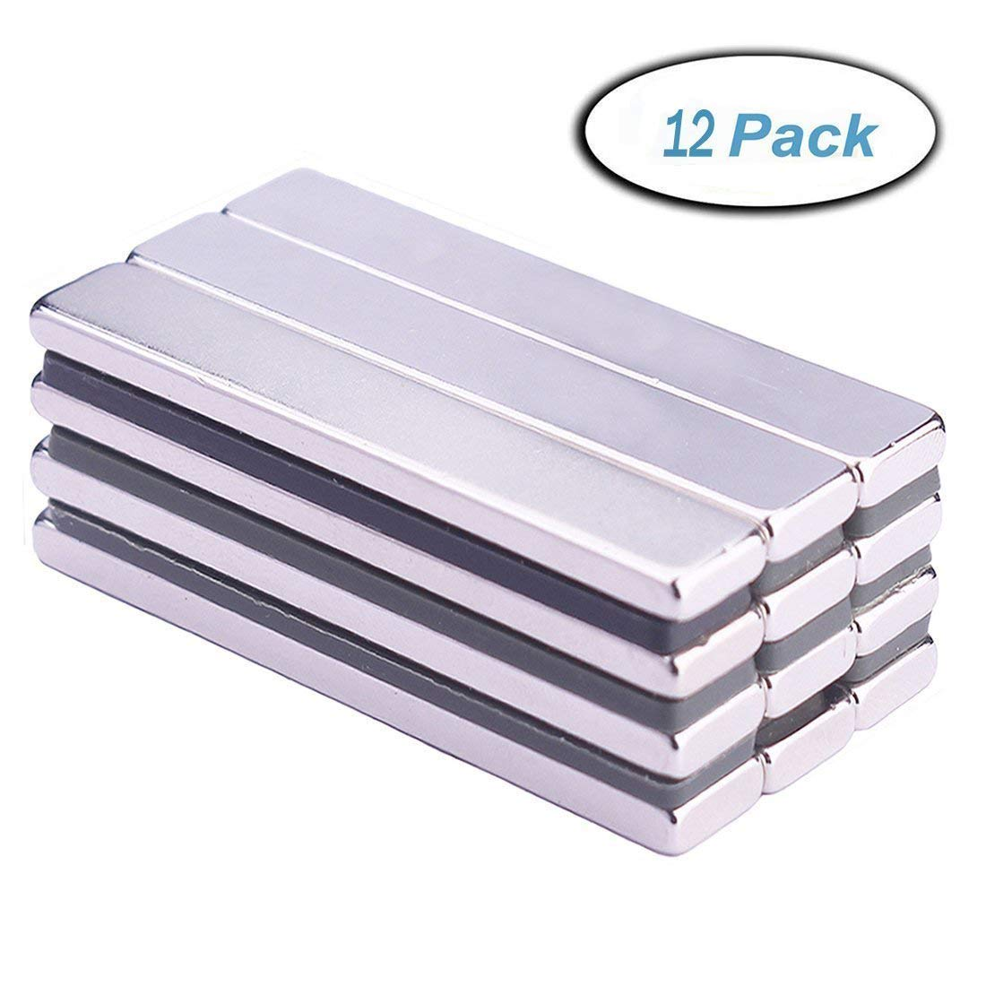 Neodymium Bar Magnets(12 Pieces), Strong Rare Earth Rectangular Block Neodymium Magnets, DIY, Building, Scientific, Craft and Office Magnets- 60 x 10 x 3 mm