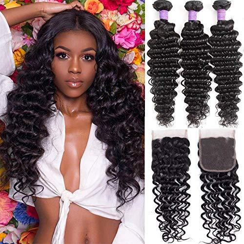 Brazilian Deep Wave Bundles with Closure (24 26 28+20) 10A Virgin Human Hair Bundles with Closure Wet and Wavy Curly Hair Weave 3 Bundles with Lace Closure Free Part