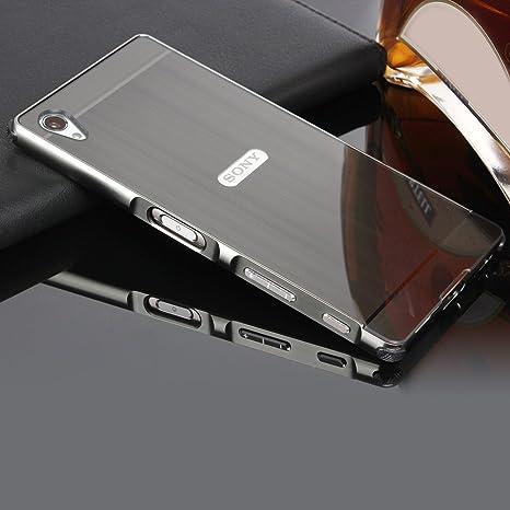 Schutzhülle für Sony Xperia Z5 Hülle Shockproof,Slynmax Spiegel Schwarz Metall Bumper Case Hart PC Cover Schutzhülle für Sony