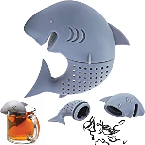 Shark Tea Infuser Funny Animal Shaped Tea Filter Loose Leaf Tea Strainer for Tea Drinkers Cute Gift for Shark Lovers Summer Party Favors Silicone BPA Free Eco-friendly Material 1 Piece Grey By Hary