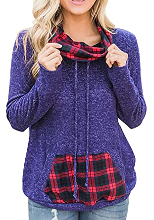 8d2a3f4037 Womens Casual Loose Pocket Long Sleeve Pullover Hoodie Sweatshirts Purple S