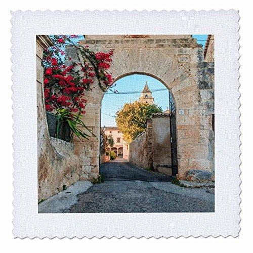 3dRose Danita Delimont - Architecture - Spain, Balearic Islands, Mallorca, church gateway. - 12x12 inch quilt square (qs_277909_4) by 3dRose