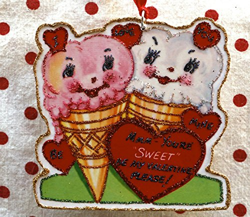 Glittered Wooden Valentine Ornament~Sweet Ice Cream~Anthropomorphic~ Vintage Card Image ~Handmade