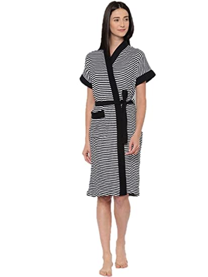 Sand Dune - Black Color Womens 100% Terry Cotton Bathrobe Gown - Half  Sleeve Knee Length with Pocket - Stripes with Plain Border Print Bath Robe  - Available ... 72f0801c0