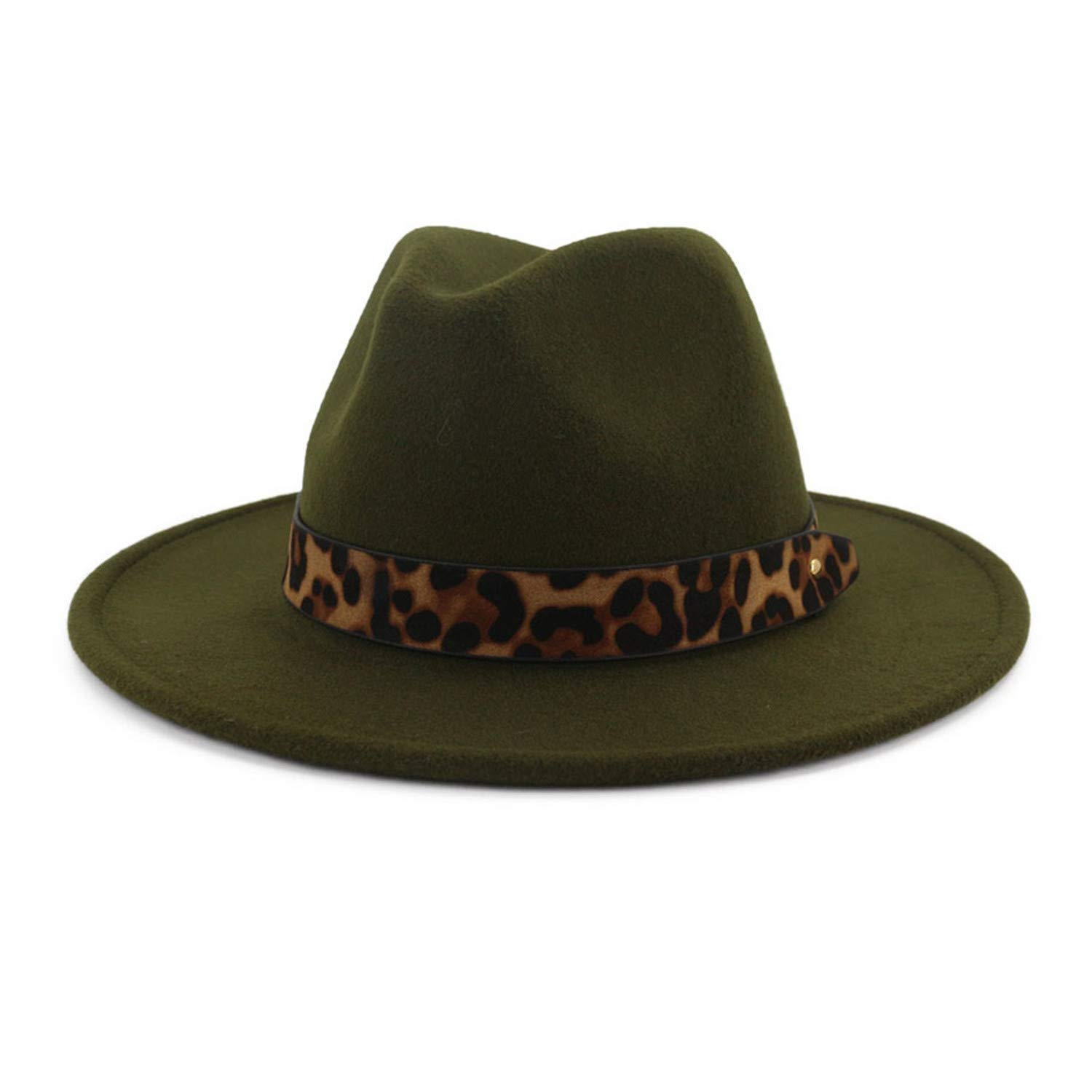 Gorgse Fedoras Hats for Women Wide Brim Felt Hat Ladies Tweed Army Green Jazz Cap Winter Elegant Pork Pie Hat
