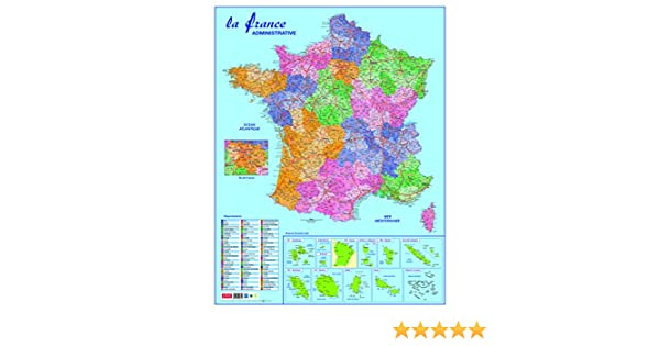 127f720d34b9 CBG - Mapa de departamentos y dominios de Francia (plastificado, 66 x 84,5  cm, 4 orificios para colgar), multicolor