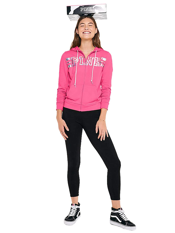 Victorias Secret Pink Boxed Full Zip Pink Hoodie and Black Legging Gift Set Size Large