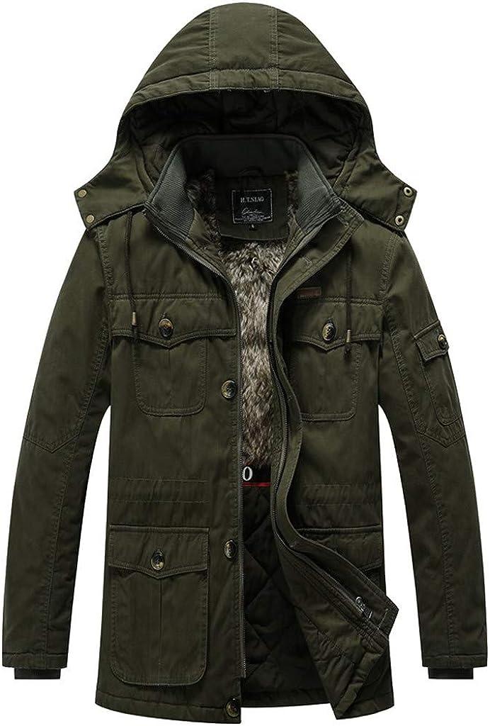 Mens Winter Parka Down Jacket Insulated Warm Jacket Coat Thicken Puffer Jacket Waterproof Windproof Outdoor with Hood
