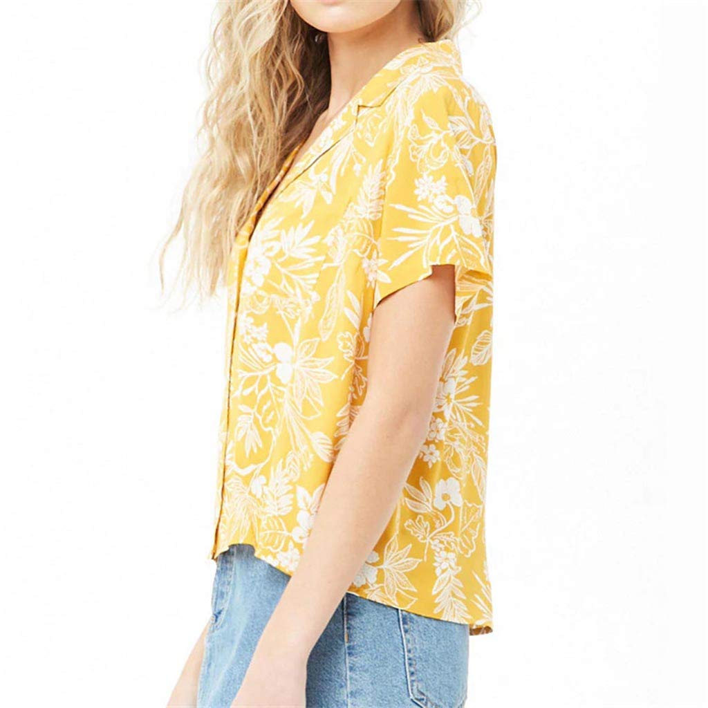 Sayhi Womens Short Sleeve Loose Print Blouse Casual Tops Ladies V-Neck Button-up Shirt Summer Tops Tee
