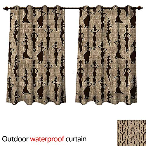 (cobeDecor African Home Patio Outdoor Curtain Woman Carry Water Vases W72 x L72(183cm x 183cm))