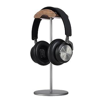 Jokitech Walnut - Diadema de madera con soporte de aluminio para auriculares, sólida base de
