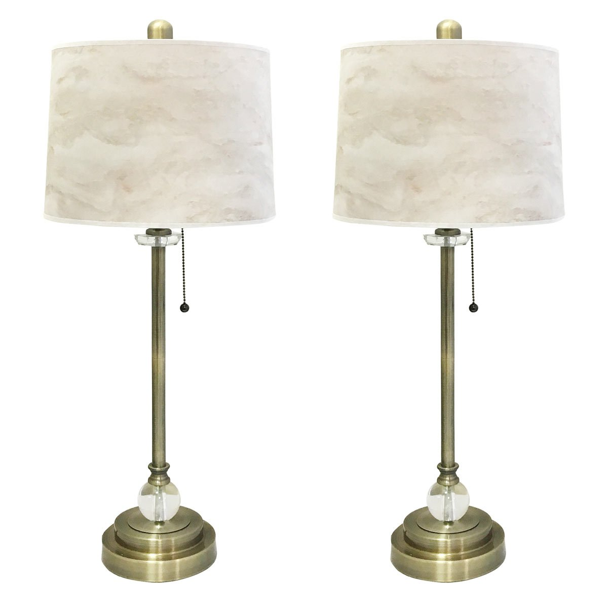Royal Designs 28'' Crystal and Antique Brass Buffet Lamp with White Marble Texture Hardback Lamp Shade, Set of 2 by Royal Designs, Inc