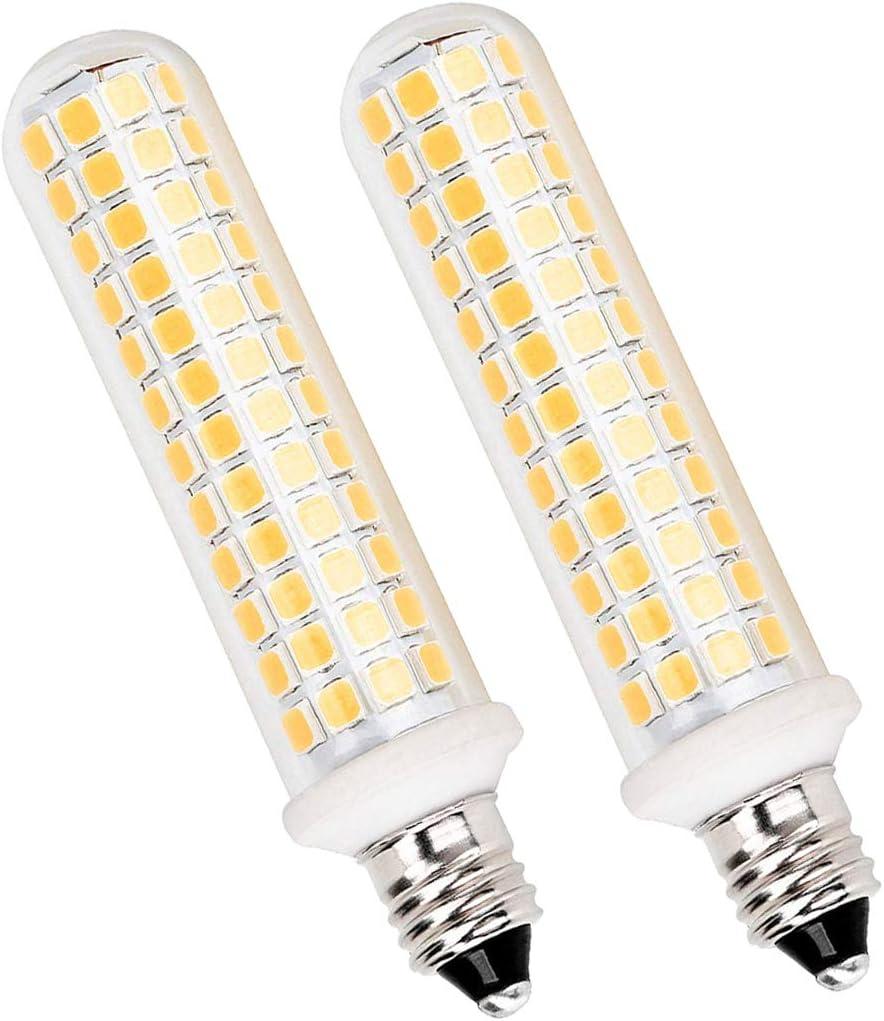 All-New E11 LED Bulb, 9W 110V 120V E11 Light Bulbs Equivalent 100W Halogen Bulb, Mini Candelabra Base Replace JD T4/T3 Type Clear E11 Led Light Bulb, Dimmable 1080Lumens Warm White 3000K(2 Pack)