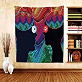 Gzhihine Custom tapestry Psychedelic Tapestry Crazy in Love Couple Romance Man and Woman with Floral Eyes Stripes Illustration for Bedroom Living Room Dorm Multi