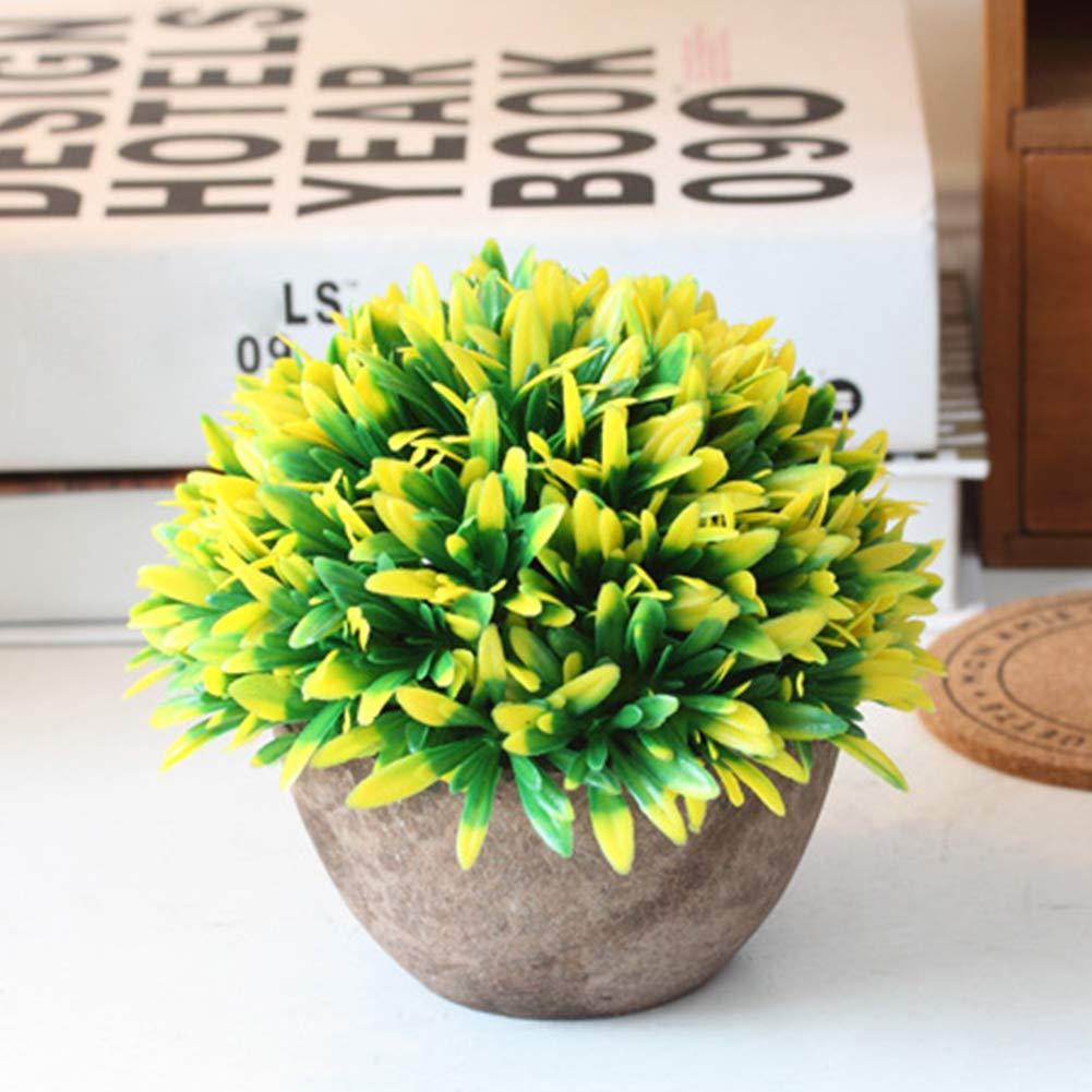 Ragdoll50 Artificial Topiary Tree Ball Plants Pot Garden Home Office Decor Outdoor Indoor(Yellow)