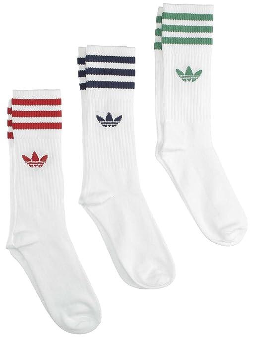Adidas Solid Crew Sock Calcetines, Hombre, Blanco-(verpal/Rojpot),