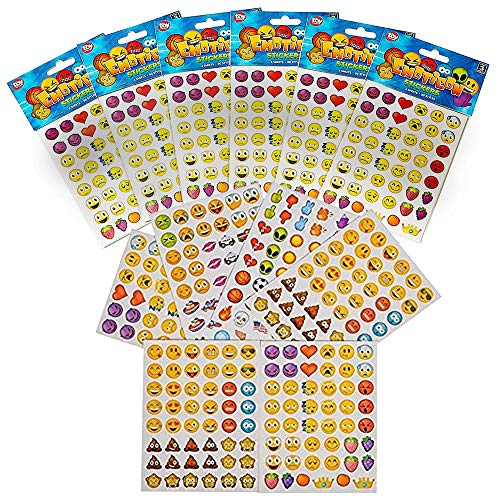 Sheet Music Tutor - Kicko Emoji Stickers - 12 Pack, Each Pack Contains 6 Sheets of Stickers, 48 Stickers Per Sheet, All Together 3,456 Stickers in Different Popular Emoticons - Great Party Favor, Prize, Gift