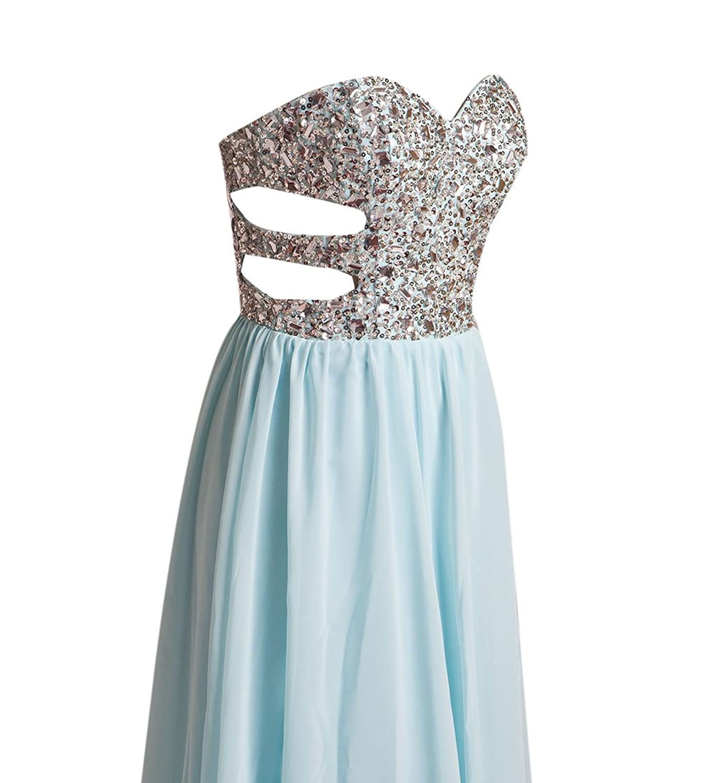 AngelDragon Sexy Strapless Rhinestones Prom Dress Long Chiffon Evening Gowns