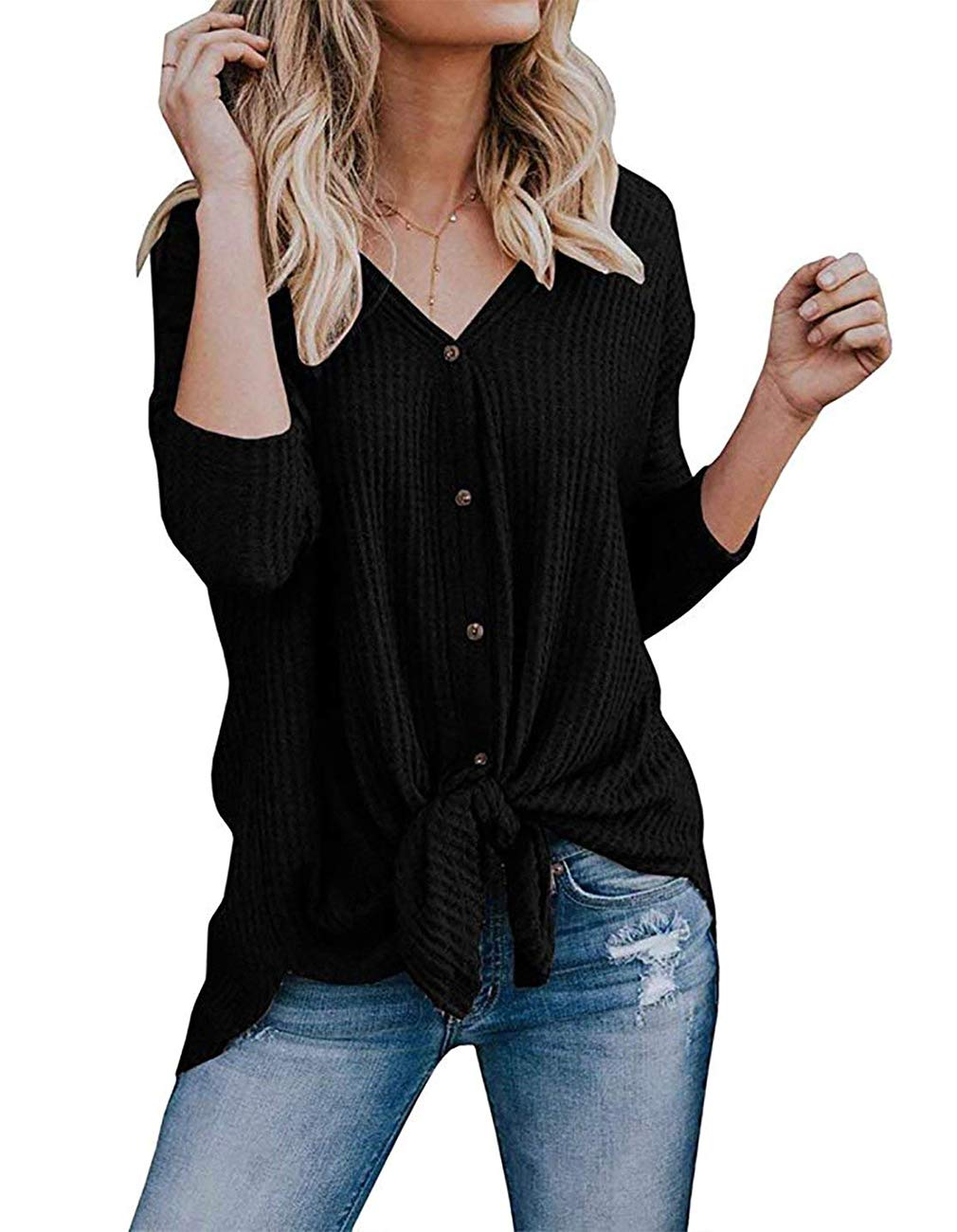 Miskely Women's Waffle Knit Tunic Tops Tie Knot Henley Tops Blouse Casual Loose Bat Wing Plain Shirts (Small, Black)