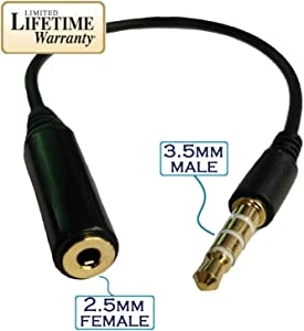 Josi Minea Black 3.5mm Male to 2.5mm Female Headphone Audio Adapter Extender Jack Stereo or Mono for Apple iPhone 6/6S/6+/5S/5 iPad Samsung Galaxy S8/S7/S6/S5 Note 5/4/3 & Most Smartphones & Tablets