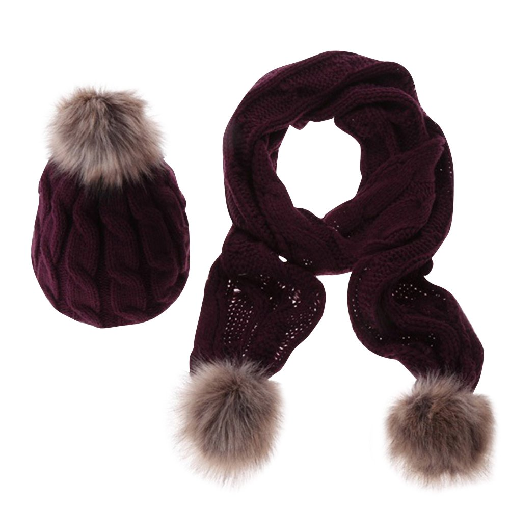 Womens Winter Knitted Scarf and Hat Set Thicken Pom Pom Cap Ladies Bobble Hats