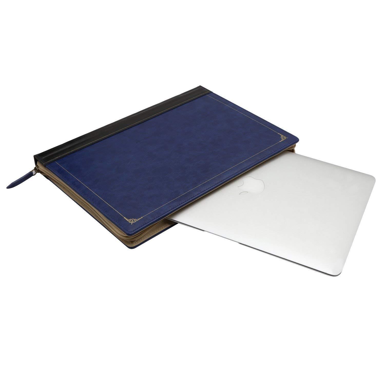 MOSISO Coque Compatible MacBook Air 13 Pouces A1466 A1369 Version 2010-2017,Vintage Classique Housse Cuir /à Glissi/ère Compatible Mac Air 13 Pouces Bleu Royal