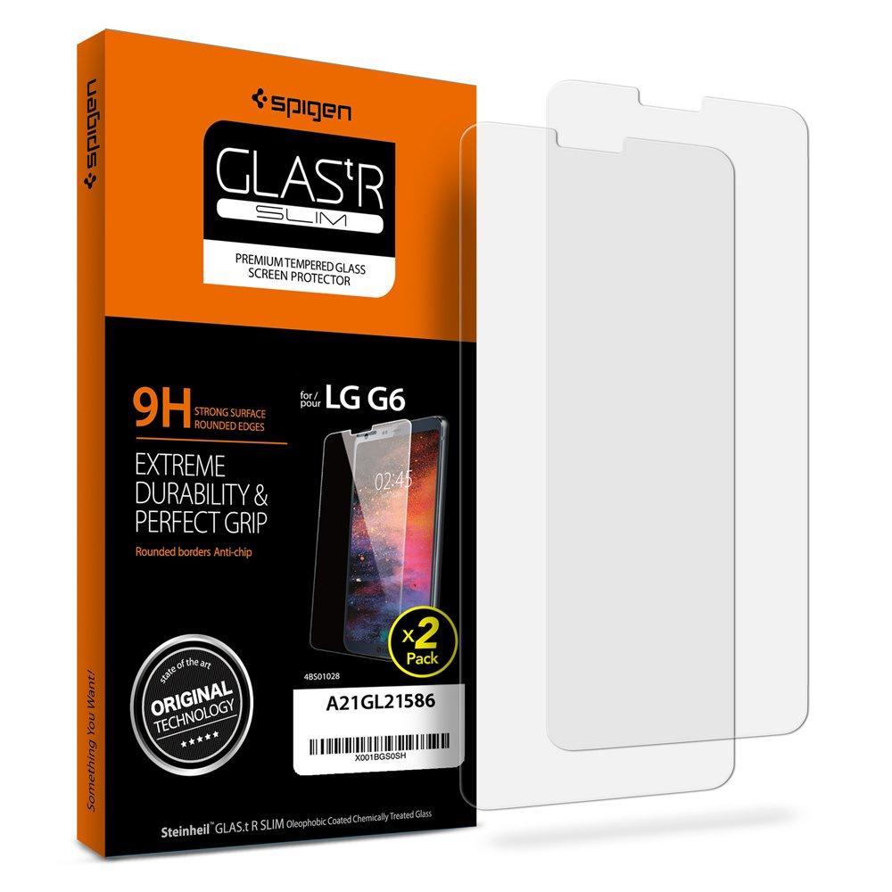 Spigen LG G6 Screen Protector Tempered Glass 2 Pack [ Case Friendly ] 2 Pack for LG G6 bkbkbhj687