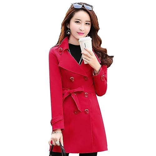 YuanDian Mujer Vintage Color Sólido Gabardina Doble Abotonadura con cinturón Rompevientos