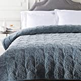 Diva At Home Flint Gray Infinite Indian Floral Paradise Patterned Cotton Twin Quilt